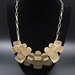 Vintage 21 Inch Stylish Rustic Gold Tone Necklace